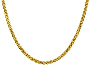 "14k Yellow Gold 4.15mm Semi-solid Wheat Chain 18""."