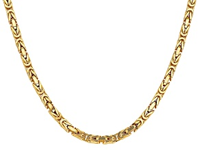 14k Yellow Gold 4mm Byzantine Chain 18""