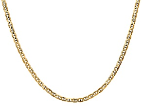 14k Yellow Gold 3mm Concave Mariner Chain 22 inch