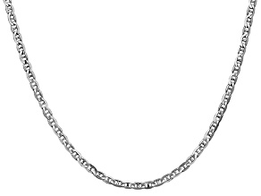 14k White Gold 3mm Mariner Link Chain 24 inch