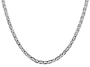 14k White Gold 3.75mm Concave Mariner Chain 24 inch