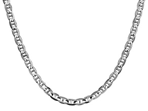 14k White Gold 4.5mm Concave Mariner 24 inch