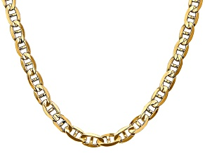 14k Yellow Gold 7mm Concave Mariner Chain 18 inch