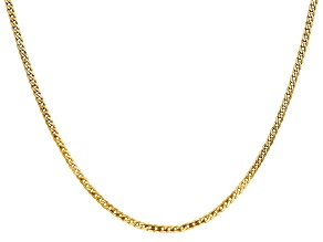 14k yellow gold 2.2mm polished flat beveled curb chain with lobster clasp. Measures 18