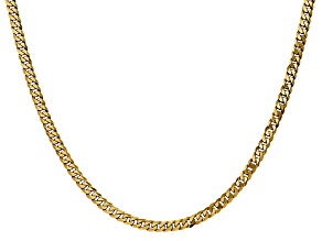 14k Yellow Gold 3.2mm Beveled Curb Chain 24""