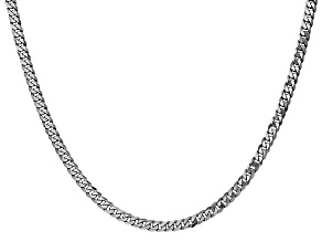 14k White Gold 3.2mm Beveled Curb Chain 24""