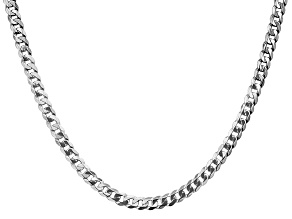 14k White Gold 4.75mm Beveled Curb Chain 18