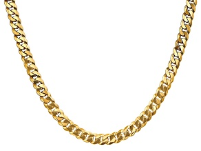 14k Yellow Gold 6.25mm Beveled Curb Chain 18""