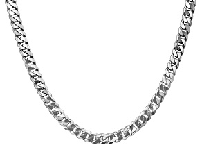 14k White Gold 6.25mm Beveled Curb Chain 24