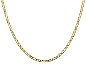 14k Yellow Gold 3mm Concave Open Figaro Chain 20