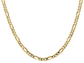 14k yellow gold 4mm concave open figaro chain with lobster clasp. Measures 16