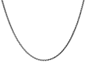 14k White Gold 1.8mm Solid Diamond Cut Wheat Chain 24 inches