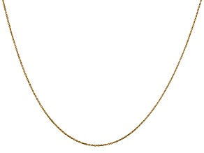 14k Yellow Gold 0.6mm Solid Diamond Cut Cable Chain 24 inches