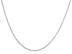 14k White Gold 0.6mm Solid Diamond Cut Cable Chain 18 inches