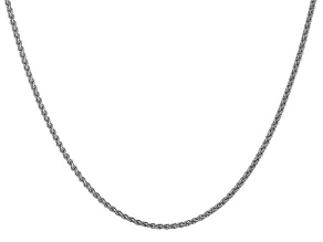 14k White Gold 1mm Wheat Pendant Chain 30 Inches