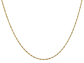 14k Yellow Gold 1mm Diamond Cut Singapore Chain 16 Inches