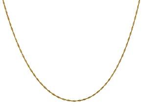 14k Yellow Gold 1mm Diamond Cut Singapore Chain 18 Inches