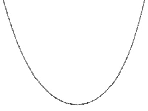 14k White Gold 1mm Polished Singapore Chain 24 Inches