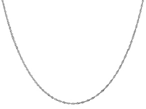 14k White Gold 1.1mm Diamond Cut Singapore Chain 18 Inches