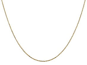 14k Yellow Gold 0.8mm Diamond Cut Cable Chain 16 Inches
