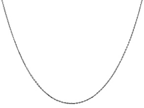 14k White Gold 0.8mm Diamond Cut Cable Chain 20 Inches
