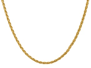 14k Yellow Gold 3mm Parisian Wheat Chain 24 Inches