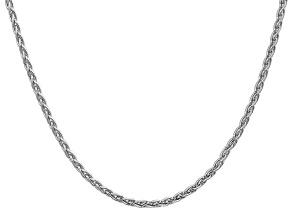 14k White Gold 3mm Parisian Wheat Chain 20 Inches