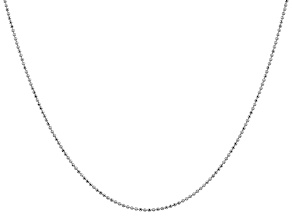 14k White Gold 1.2mm Diamond -Cut Beaded Pendant Chain 24 Inches
