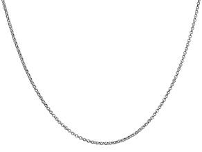 14k White Gold 1.55mm Rolo Pendant Chain 18 Inches