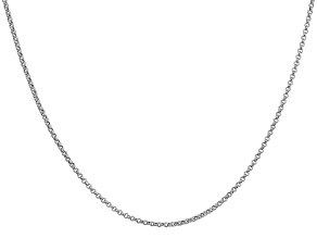 14k White Gold 1.55mm Rolo Pendant Chain 20 Inches