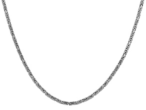 14k 2mm White Gold Byzantine Chain 18 Inches