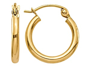 14K Yellow Gold Polished 2mm Lightweight Tube Hoop Earrings