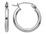 14K White Gold Polished 2mm Lightweight Tube Hoop Earrings