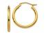 14K Yellow Gold Polished 2mm Lightweight Tube Hoop Earrings
