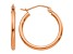 14k Rose Gold Polished 2mm Lightweight Tube Hoop Earrings