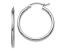 14K White Gold Polished 2mm Lightweight Hoop Earrings
