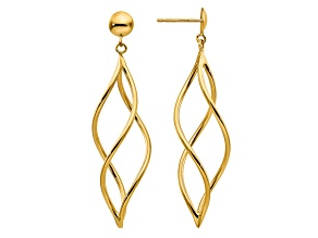 14k Yellow Gold Curved Tube Dangle Earrings