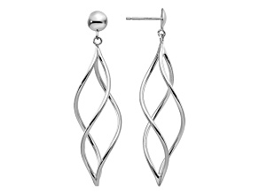 14k White Gold Swirl Dangle Earrings
