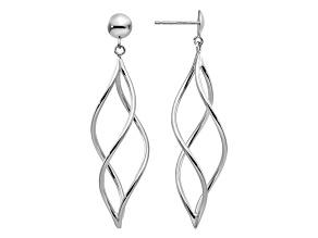 14k White Gold Swirl Dangle Earrings
