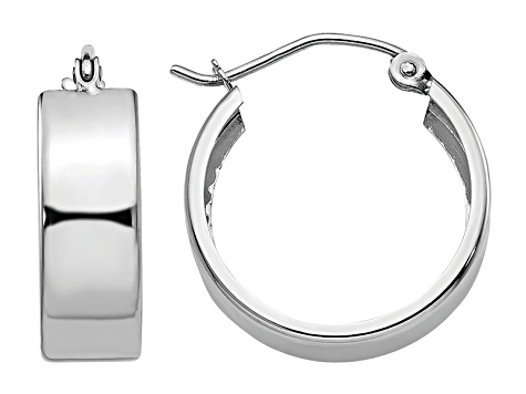 14k White Gold Fancy Hoop Earrings