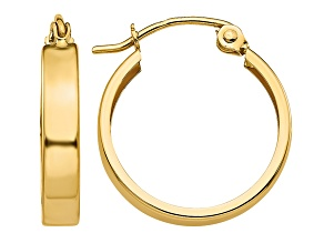 14k Yellow Gold Polished 3mm Hoop Earrings
