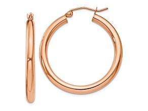 14k Rose Gold Polished 3mm Lightweight Tube Hoop Earrings