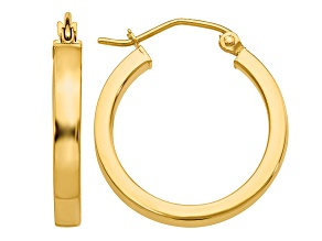 14k Yellow Gold 2x3mm Square Tube Hoops