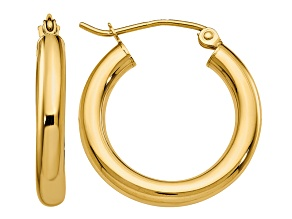 14k Yellow Gold Polished 3mm Lightweight Tube Hoop Earrings