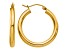 14k Yellow Gold Polished 3mm Lightweight Tube Hoop Earrings