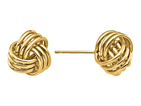 14k Yellow Gold Polished Triple Knot Post Earrings