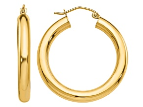 14K Yellow Gold Polished 4mm Lightweight Tube Hoop Earrings