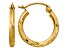 14k Yellow Gold Satin and Diamond-cut 2mm Round Tube Hoop Earrings