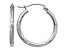 14k White Gold Satin and Diamond-cut 2mm Round Hoop Earrings