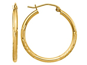 14k Yellow Gold Satin and Diamond-cut 2mm Round Tube Hoop Earrings